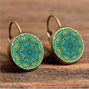 Jewelry - NEW Brass Color Round Green Geometric Earrings